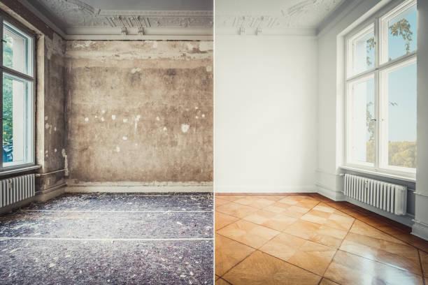 Pauschalsaniert, leerer Raum vor und nach der Renovierung von Alt-und Neubauwohnungen- – Foto