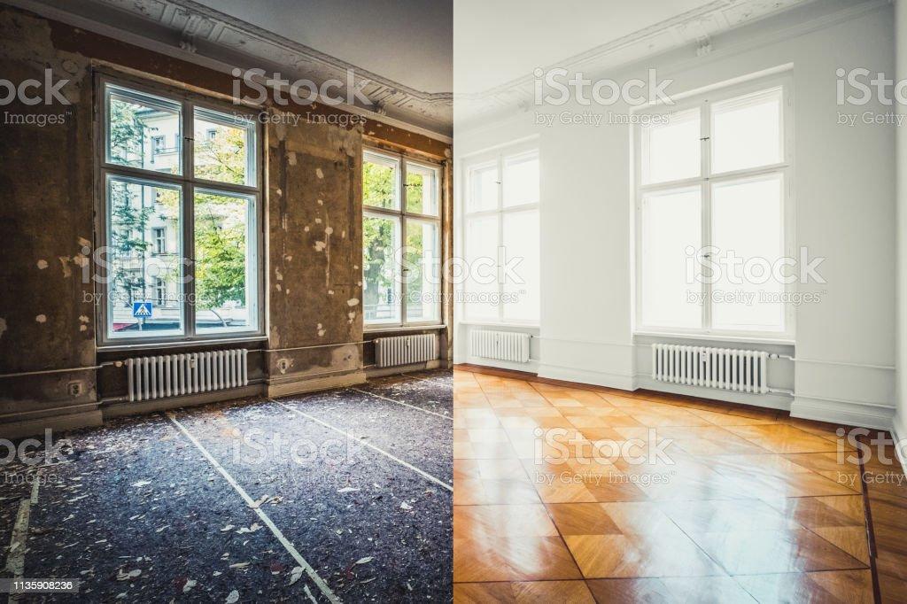 vlakke renovatie, lege ruimte voor en na renovatie of restauratie- - Royalty-free Appartement Stockfoto