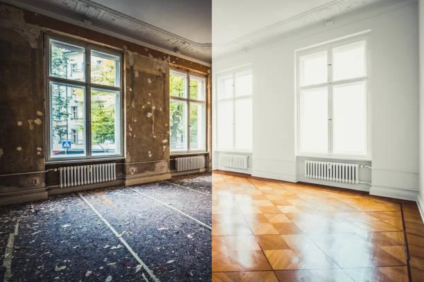 Wohnungsrenovierung, leerstehendes Zimmer vor und nach der Sanierung oder Sanierung- – Foto