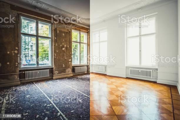 Vlakke Renovatie Lege Ruimte Voor En Na Renovatie Of Restauratie Stockfoto en meer beelden van Appartement