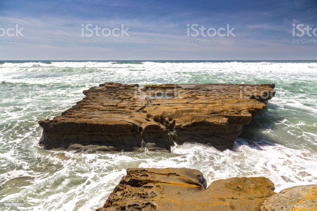 Flat Rock at Torrey Pines State Beach stock photo