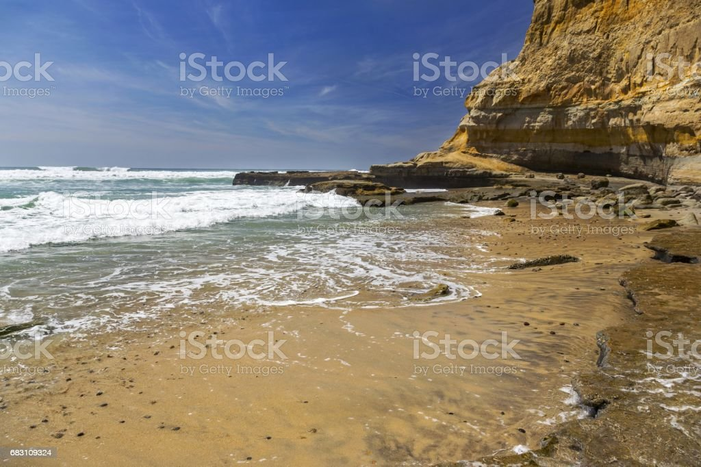 Flat Rock on Torrey Pines State Beach north of San Diego, California stock photo