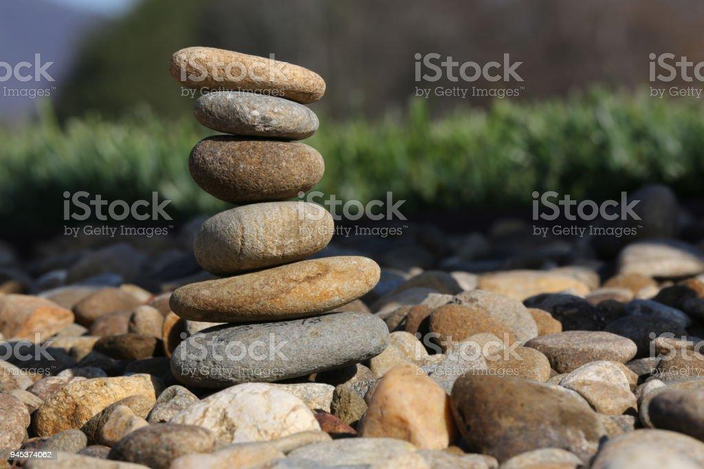 Flat rocks stacked up stock photo