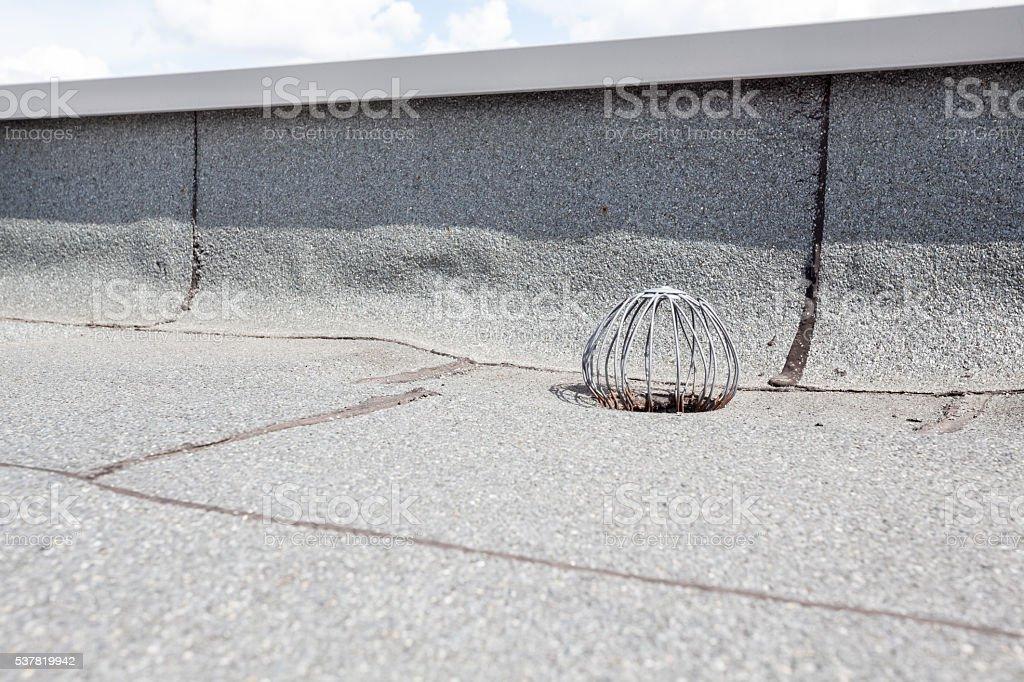 flat roof drain stock photo
