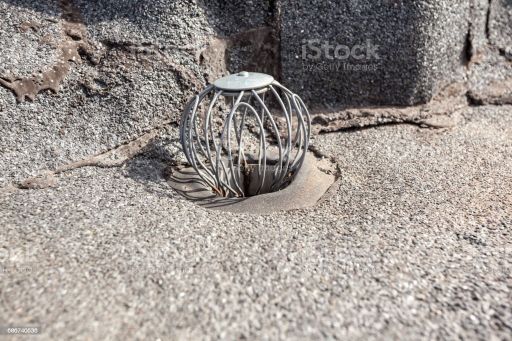 flat roof drain stock photo
