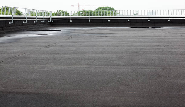 flat roof with roofing stock photo