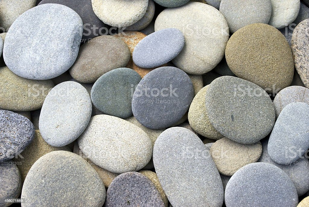 Flat Round Pebbles stock photo