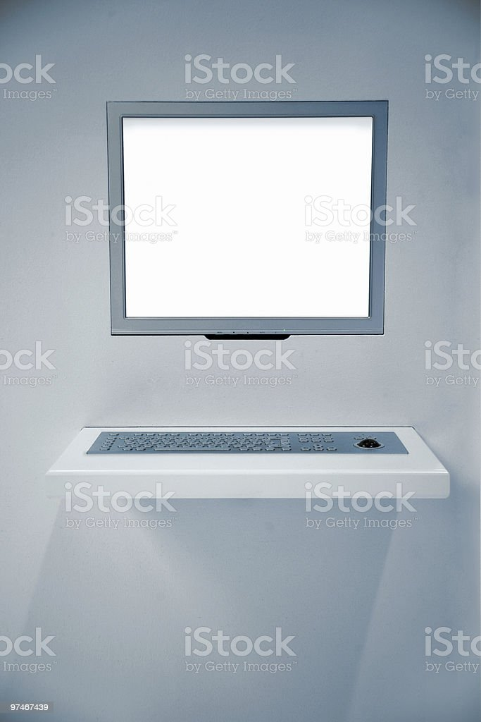 Flat screen and keyboard royalty-free stock photo