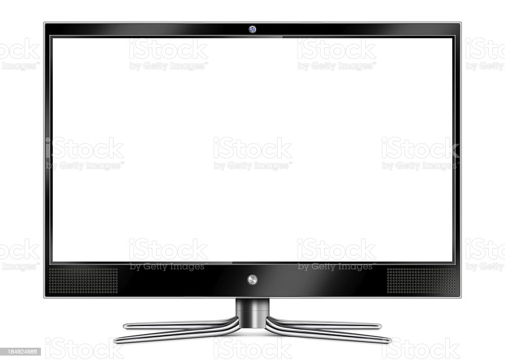 "Flat Screen Computer Monitor ""Front view of high-definition, wide and flat screen LCD computer monitor (or TV). Black and transparent frame, webcam, speakers and metallic stand with blank white screen. Clean image and isolated on white background."" Arts Culture and Entertainment Stock Photo"