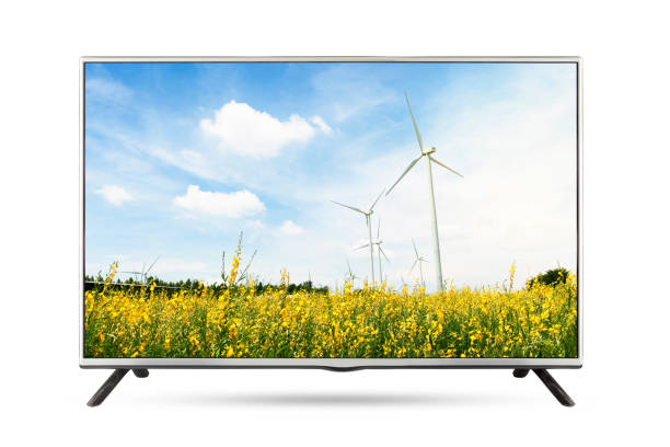 TV flat screen landscape isolated white background. TV flat screen landscape isolated white background. clipping path ultra high definition television stock pictures, royalty-free photos & images