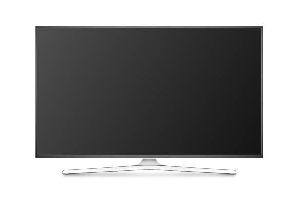 tv 4k flat screen lcd of oled, plasma realistische illustratie, zwarte blank hd monitor mockup. - clipping path stockfoto's en -beelden