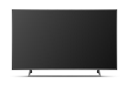 TV 4K flat screen lcd or oled, plasma realistic illustration, Black blank HD monitor mockup, Modern video panel black flatscreen with clipping path