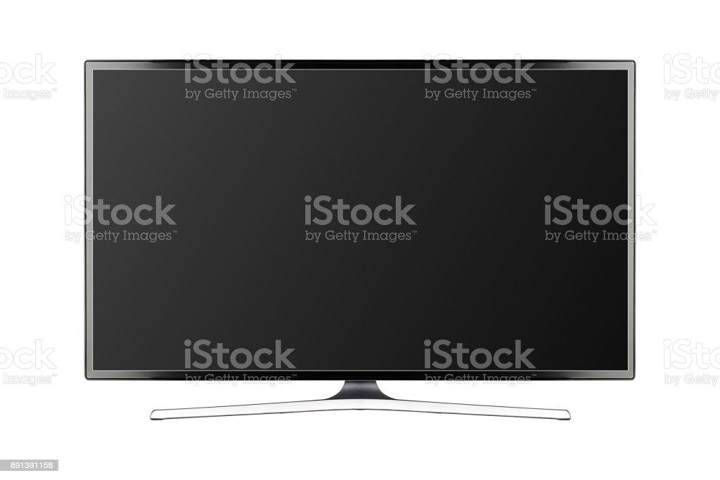 TV 4K de plano de la pantalla lcd o oled, plasma ilustración realista, maqueta de monitor de HD en blanco negro - foto de stock