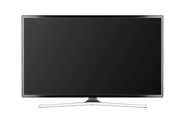 TV 4K flat screen lcd or oled, plasma realistic illustration, Black blank HD monitor mockup stock photo