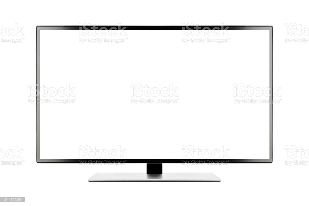 TV 4K flat screen lcd or oled, plasma realistic illustration, White blank HD monitor mockup with clipping path stock photo