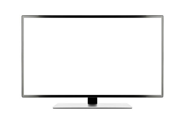 TV 4K flat screen lcd or oled, plasma realistic illustration, White blank HD monitor mockup with clipping path TV 4K flat screen lcd or oled, plasma realistic illustration, White blank HD monitor mockup, Modern video panel white flatscreen with clipping path computer screen stock pictures, royalty-free photos & images