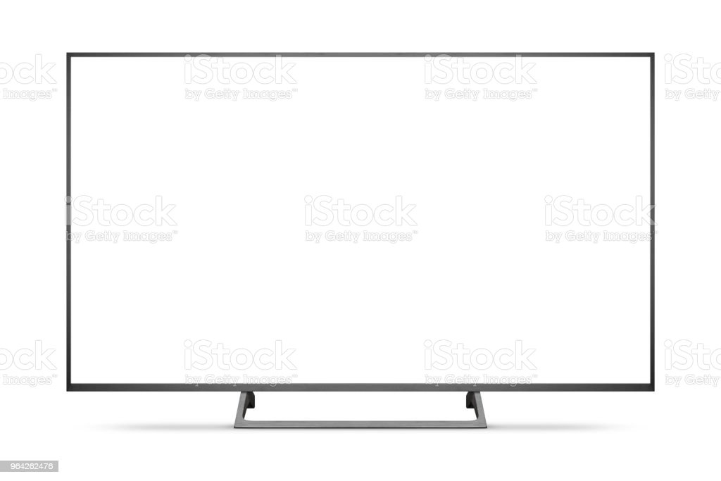 TV 4K flat screen lcd or oled, plasma realistic illustration, White blank HD monitor mockup. foto stock royalty-free
