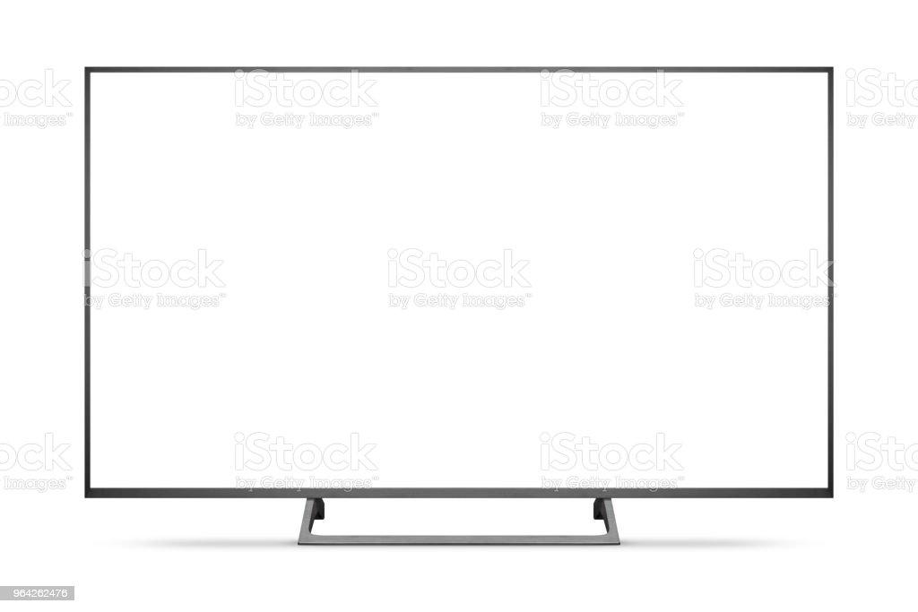 TV 4K Flach-Bildschirm lcd oder oled, Plasma realistische Darstellung, weiße leere HD Monitor Mockup. – Foto