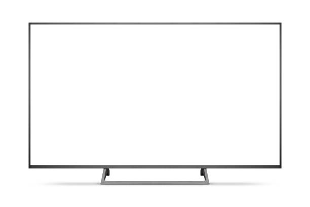 tv 4k flat screen lcd or oled, plasma realistic illustration, white blank hd monitor mockup. - televisor imagens e fotografias de stock