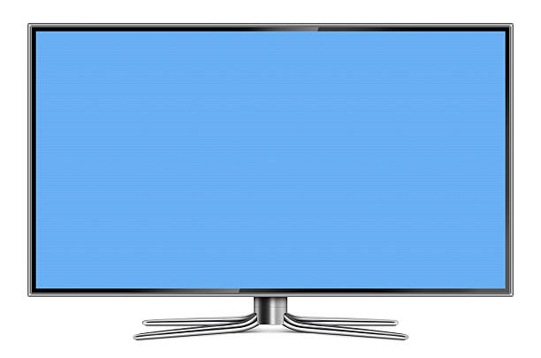 Flat Screen LCD Television Front view of high-definition flat screen LCD television. Metallic frame and stand with blank blue screen.Clean image and isolated on white background. liquid crystal display stock pictures, royalty-free photos & images
