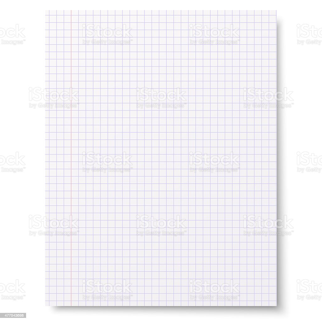 Flat sheet of squared notebook paper isolated on white background stock photo