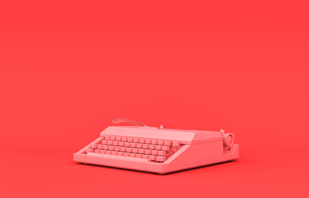 Flat single color, plastic material typewriter single room accessory in monochrome pink background, 3d rendering Typewriter, Flat single color, plastic material room accessory in monochrome pink background, 3d rendering, toys and decorative objects copywriter stock pictures, royalty-free photos & images