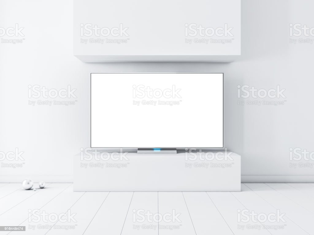 Flat Smart Tv Set With White Screen Mockup On Stand White Interior ...