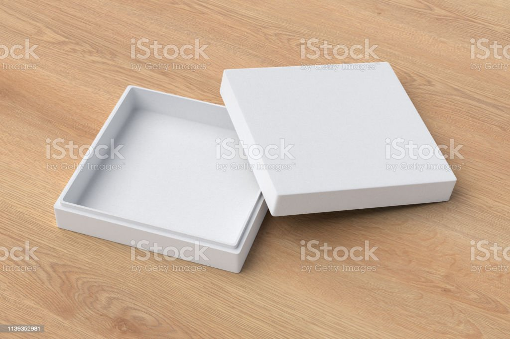 Empty flat white square box on wooden background. 3d illustration