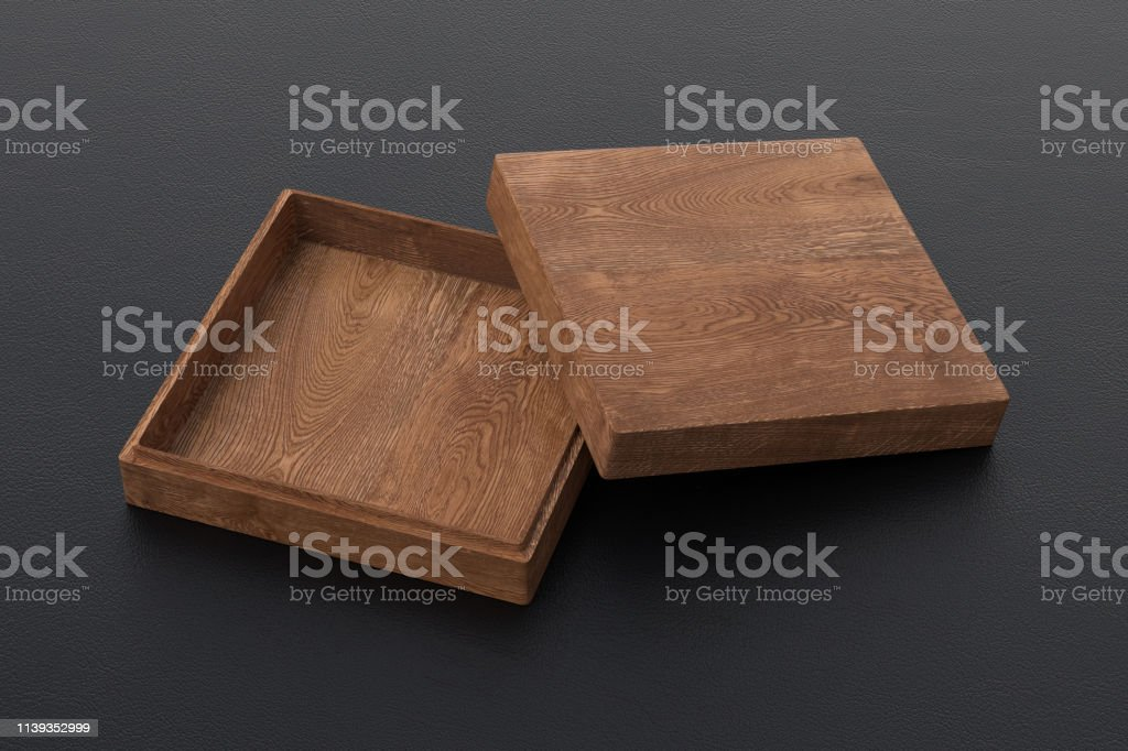 Empty flat dark wooden square box on black background. 3d illustration