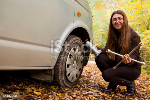 Young women trying to change the flat tire.