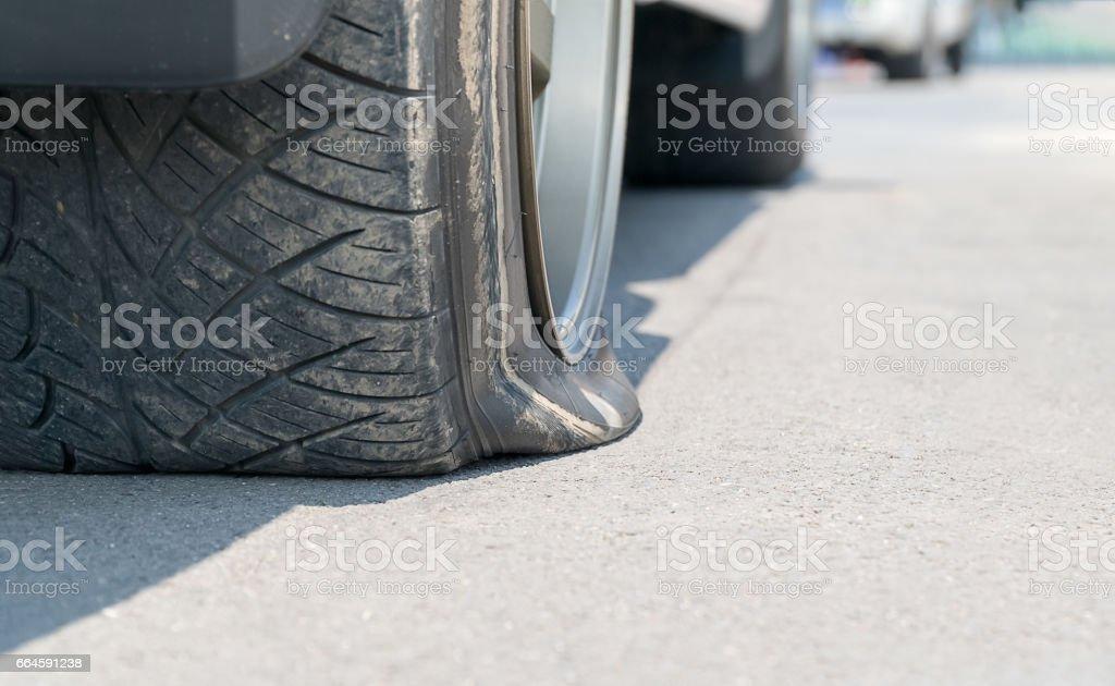 Flat  tire car on street. stock photo