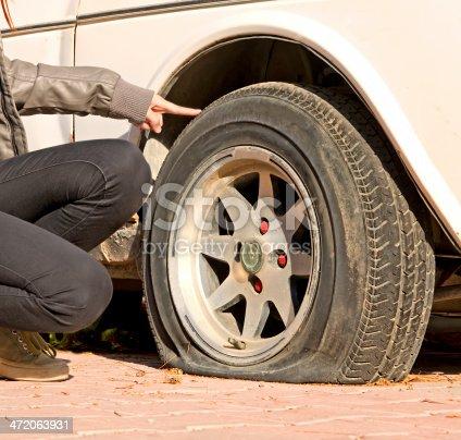 104275470 istock photo Flat Tire 472063931