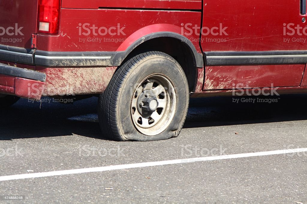 Flat Tire stock photo
