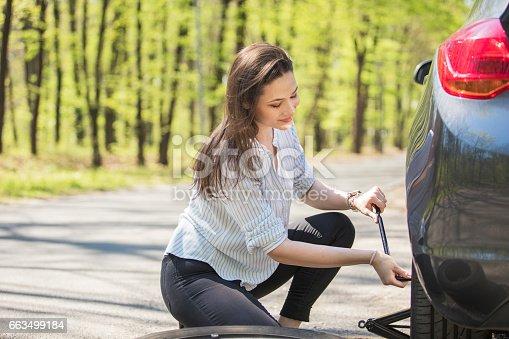 istock Flat tire 663499184