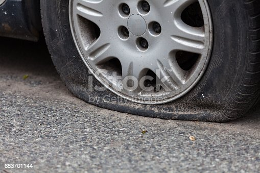 Flat Tire Stock Photo & More Pictures of Asphalt