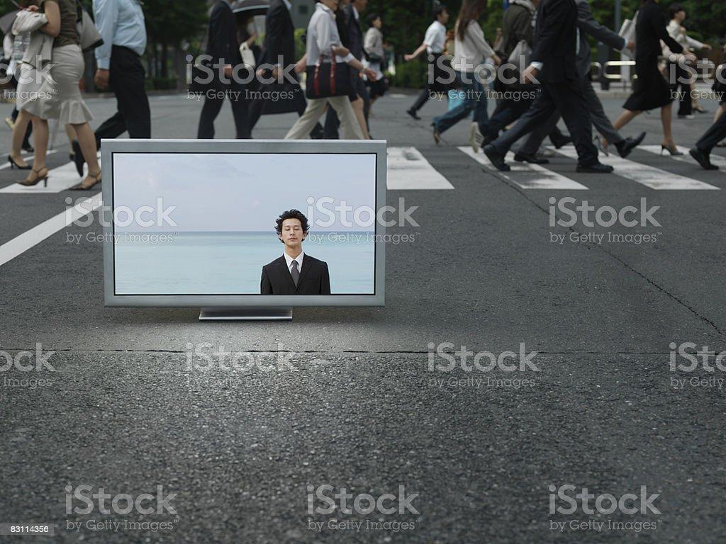 Flat TV placed on Ubran street royaltyfri bildbanksbilder