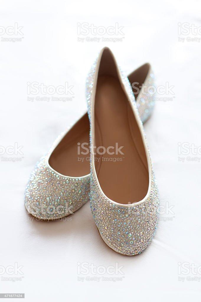 flat wedding shoes with diamante stock photo