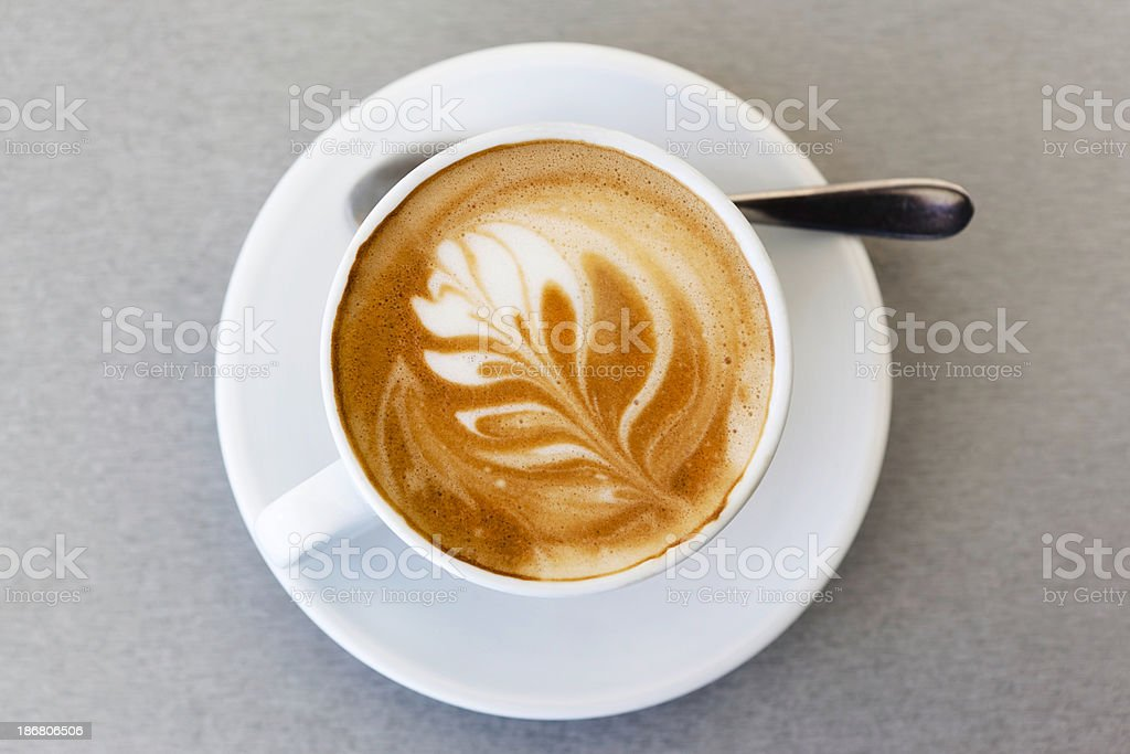 Flat white coffee stock photo