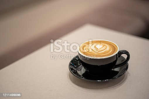 Flat white coffee with froth art on top of plain wooden table