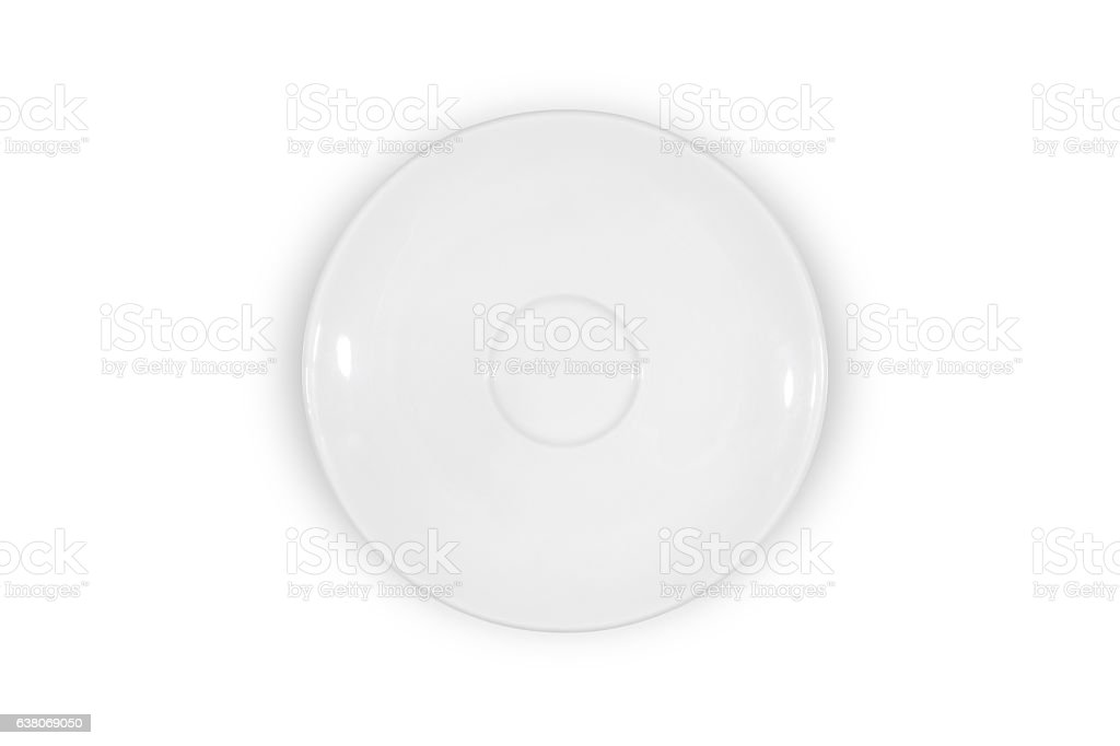 Flat white saucer on white background from above stock photo