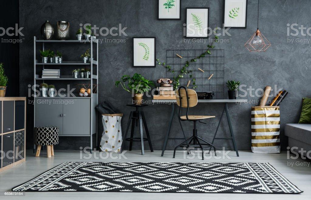 Flat with cyan wall stock photo