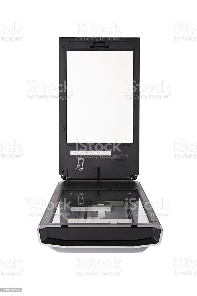 Flatbed scanner isolated on white royalty-free stock photo
