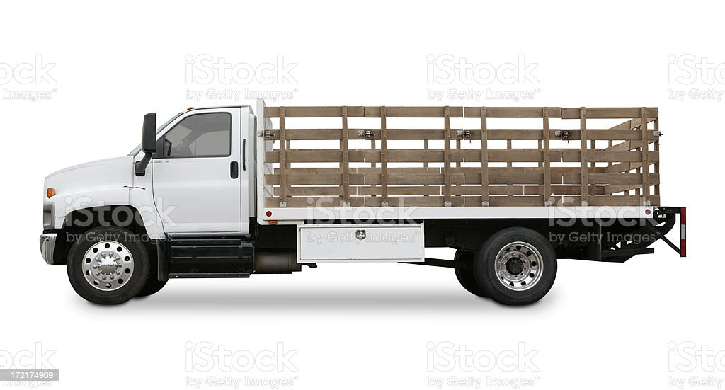 Flatbed truck with side rails isolated on white background. royalty-free stock photo