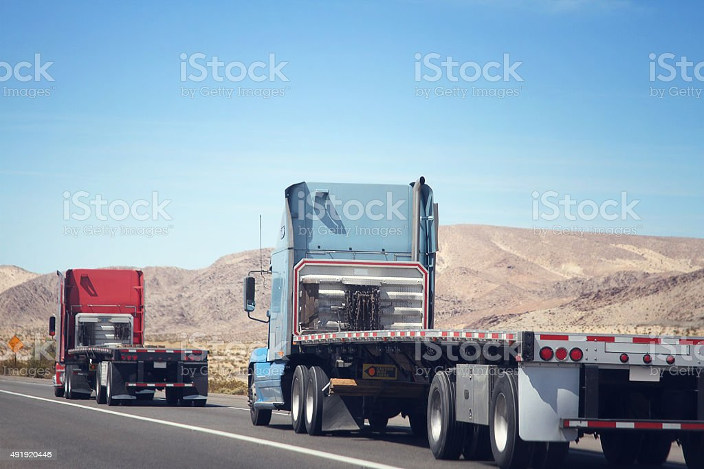 Flatbeds in the Desert stock photo