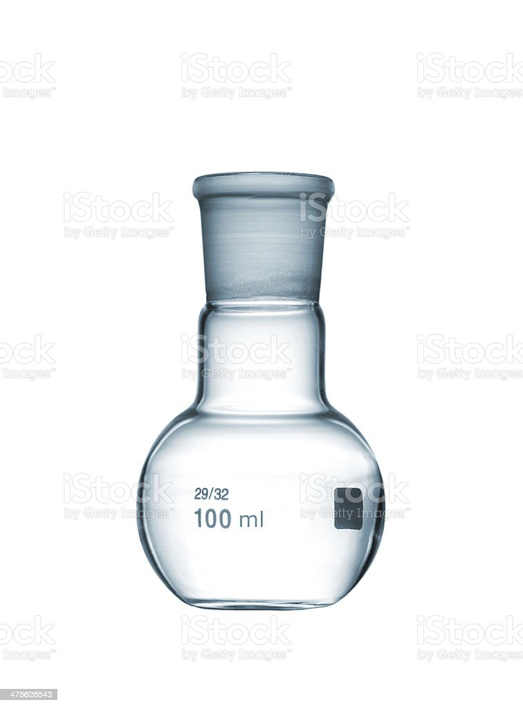 Flat-bottomed flask isolated on a white background royalty-free stock photo