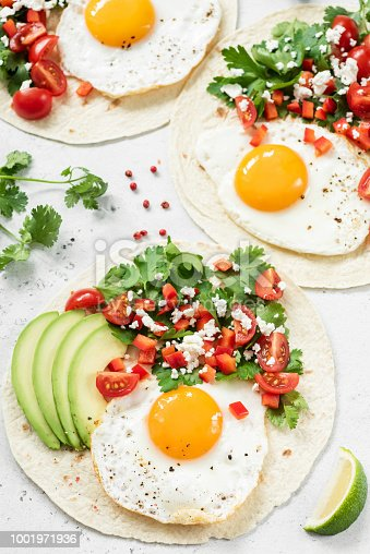 Flatbread with avocado, egg and mexican salsa, vertical, closeup view