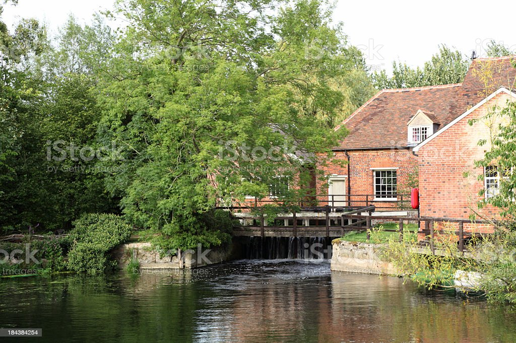 flatford mill and river stour essex england stock photo