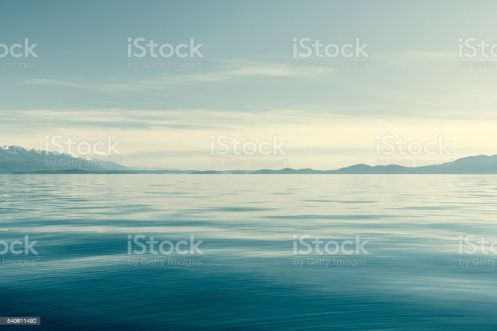 Flathead Lake Montana With Mission Mountains On Horizon stock photo