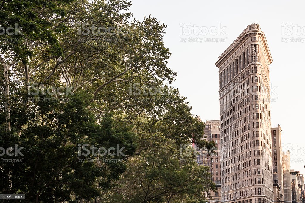 Flatiron Building and tree in Madison Square Park stock photo