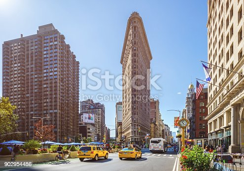 The Flatiron Building and Buildings around Madison Square Park in New York City in the morning